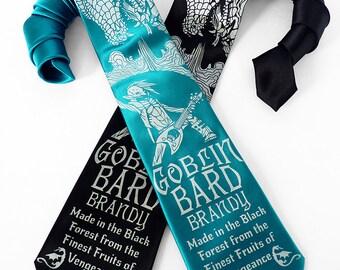 Dragon Necktie, Dice Tie, DnD Dice, Fathers Day Gift, RPG, D20 Dice Necktie, Geek Tie, Gamer Gifts for Him - Goblin Bard Brandy Mens Necktie
