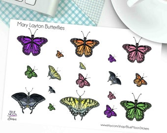 Butterflies art by Mary Layton Spring Stickers