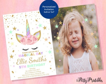 Unicorn Photo Invitation, Unicorn Birthday Invitation, Glitter Unicorn Invitation , Floral Unicorn , Magical Unicorn, Digital File