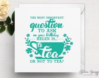 Personalised Birthday Tea Theme Card
