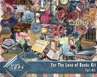 Digital Scrapbooking Kit FOR THE LOVE of Books dried flowers, books seats,lamps  word art suitable for vintage and modern Scrap Pages