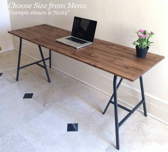 Large Desk Handfinished Wood And Metal Table On Ikea Legs - Long narrow table desk