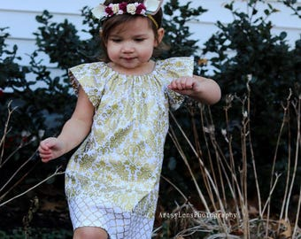 New! Girls Gold and White Flutter Sleeve Dress - Girls Metallic Gold Easter Dress - Gold Damask Print Party Dress - Sizes 12m through 8