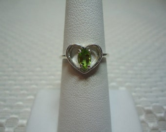 Oval Peridot Heart Ring in Sterling Silver   1762