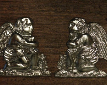 two antique French silvered angels, cherubs, ornament, ex voto