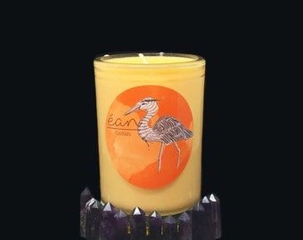 Ritual Kerze für Kreativität, Gebet Kerze mit Kristall, Amethyst Point, Bergamotte und Sandelholz, Bann Kerze, öffnet sakral-Chakra