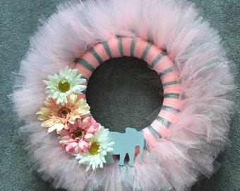 Pink & Silver Tutu Wreath