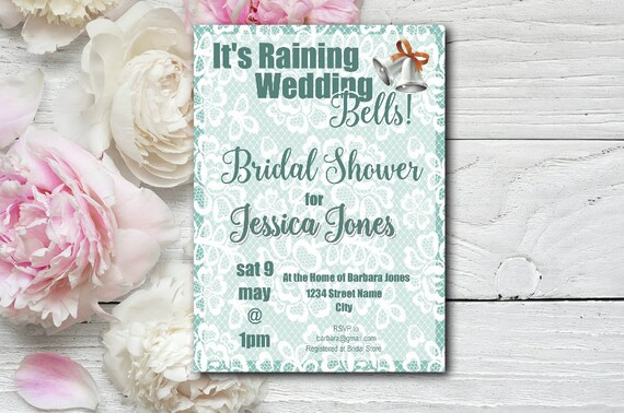 Green Wedding Bells Bridal Shower Invitation