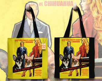 Chihuahua Art Tote Bag - Love Is My Profession Movie Poster   Perfect DOG LOVER Gift for Her Gift for Him