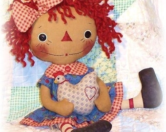 primitive doll pattern, Rag Doll sewing Pattern, PDF Pattern, cloth doll pattern, raggedy Ann, primitive Annie, country doll, chicken