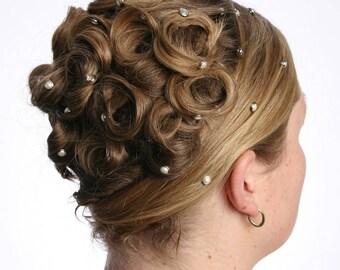 10 cristal perle cheveux boutons pressions - ronde argent jante édition--en cristal Swarovski Perle strass élément