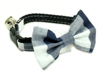 Blue Checkered Bow Tie - Blue Plaid Bow Tie - Small and Medium sizes available - no collar included
