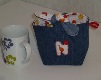 Pouch tied recycled denim, N, fruit motifs and white cotton inside