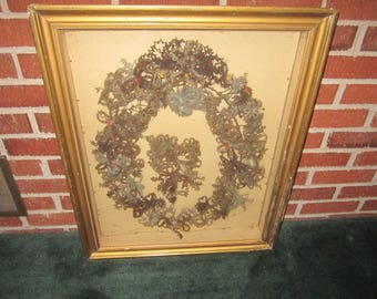 Antique 19c Victorian Exceptional Large Hair Wreath in 21x26 Shadowbox Frame with Iowa Provenance