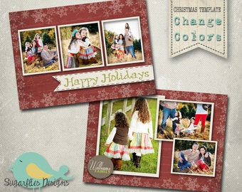 Christmas Card PHOTOSHOP TEMPLATE - Family Christmas Card Wish