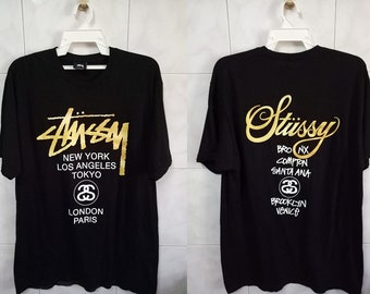 STUSSY spell out city siries big logo streetwear hip hop rap Large size tee t-shirt