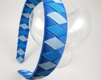 Blue Headband - Light Blue Headband - Turquoise Headband - Ribbon Woven Headband - Braided Headband - Child Teenager Adult Headband