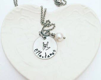 Custom Hand Stamped I love you ASL Sign Language Sterling Silver Necklace hand stamped with pearl drop - Mothers Day from Husband