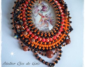 Brooch Orange Magic-Bead Embroidery