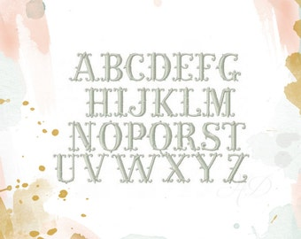 """Fishtail Embroidery Font Fish Tail Monogram Font Finley 2"""" inch font  BX instant download"""