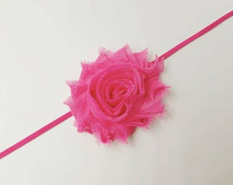 baby headband, shabby flower headband, flower headband, baby felower headband, infant headband, shabby flower, Hot pink shabby flower