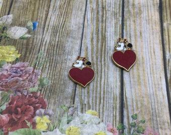 Vintage Minnie Mouse Enamel Heart Earrings