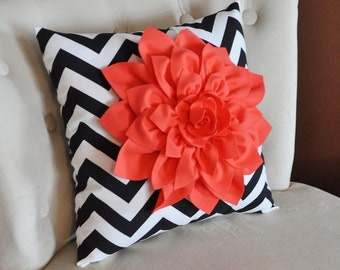 Coral Dahlia on Black and White Zigzag Pillow -Chevron Pillow-