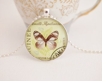 butterfly necklace, vintage postage stamp necklace butterfly, Guinee 1963