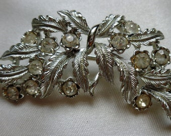 vintage Costume Jewelry pin brooch clear rhinestone faux silver leaf white fancy lapel