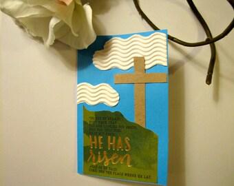 He is risen cross, Easter card religious, Christian Easter card, Cross cards, Easter card handmade, He is risen Easter card
