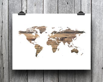 PRINTABLE: Wood Textured World Map Print- 8.5 X 11 digital print