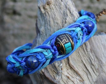 Blue Lapis lazuli braid Protection bracelet Love Friendship Third eye Throat chakra Spiritual Calming Tibetan Shamballa Men Women jewelry
