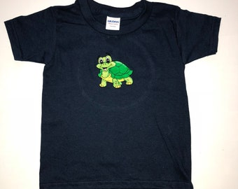 Embroidered Tortoise on Navy Tee Shirt