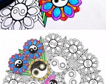 Mandala Adult Coloring Page - Yin Yang Bouquet