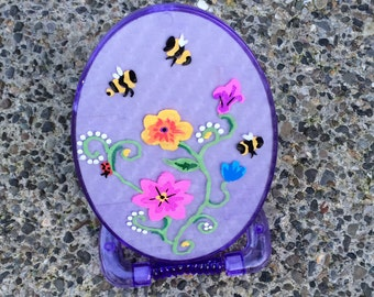 Hand-Painted Purple Mirror with Flowers and Bees