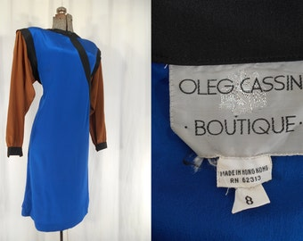 Vintage 1970s Dress - Color Block Dress | Silk Midi Dress | Oleg Cassini Designer Dress