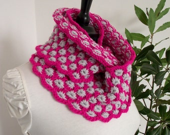 KNITTING PATTERN COWL - Charlotte Cowl - Knit Scarf pattern pdf Instant Download Knitted Woman Cowl two colors knit cowl scarf pattern