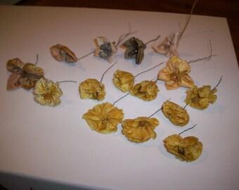 antique authentic ribbon work silk flowers yellow, gold, mauve, peach