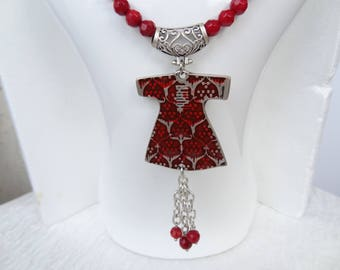Red Coral and Ottoman Caftans Necklace, Coral Gemstone Jewelry, Red Painted Caftans, Women Coral Necklace, Gift for Her, Mother's Day Gifts