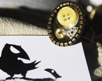 Steampunk Button Ring