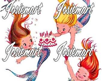 Vintage Digital Download Mermaid Birthday Cake Vintage Image Collage Large JPG and PNG