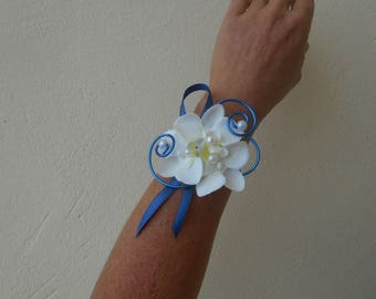 Floral bracelet for wedding - Blue Navy and Orchid