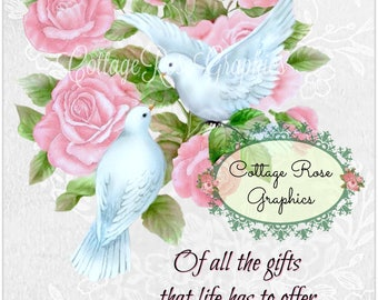 Roses and Dove collage Mother's Day Large digital download BUY 3 get one FREE ecs svfteam
