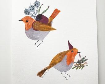 Winter Robins (original painting)
