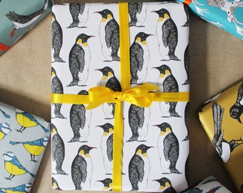 Penguin Gift Wrap - wrapping paper - penguin wrapping paper - gift wrap for men - birthday wrapping paper - penguin - Christmas