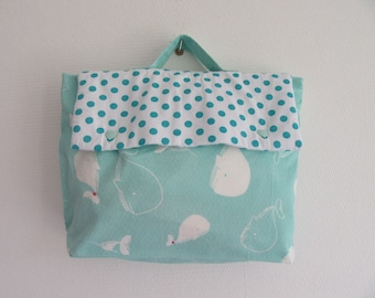 Kids school bag hand-made in cotton green print cotton and white whales with polka dots
