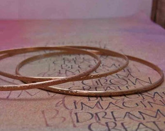Set of 3 Brass Bangle Bracelets, Gold Colored Jewelry, Textured Bangles, Hammered Metal Jewelry, Delicate Stacking Bracelets
