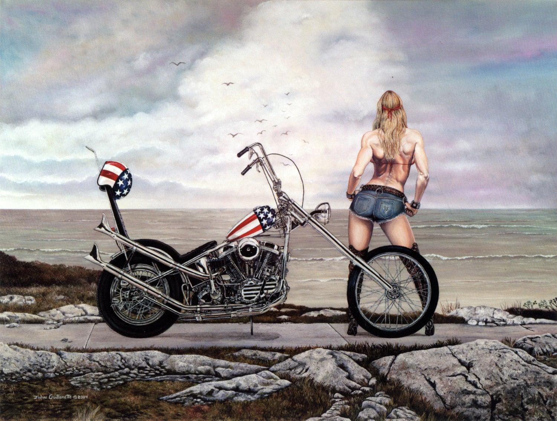 Harley davidson easy rider chopper lady biker harley wall art zoom kristyandbryce Image collections