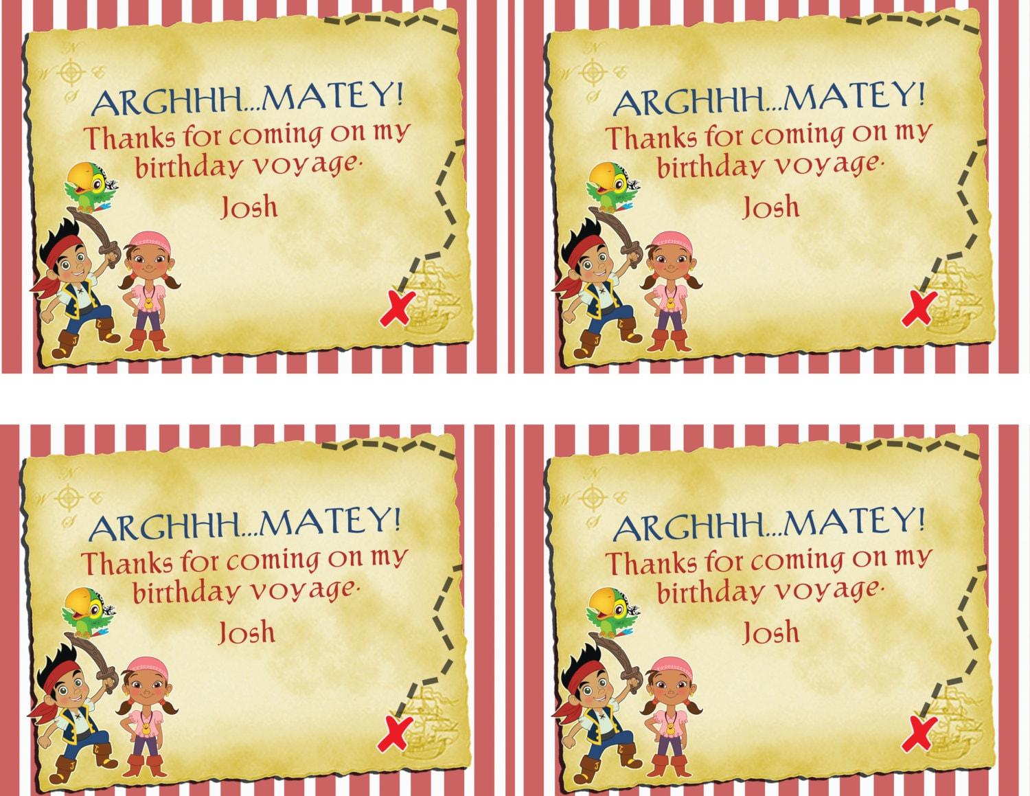 Jake and the Neverland Pirates Birthday Labels Party Labels