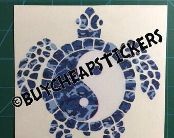 Yin Yang Sea Turtle Decal/Sticker Blue Camo 5x5